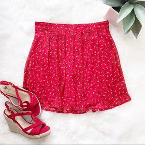 Old Navy Floral Red Pleated Chiffon Mini Skirt